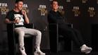 Leo Messi y Cristiano Ronaldo durante la rueda de prensa previa a la gala del Balón de Oro 2015