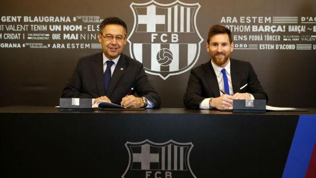 Leo Messi firma su renovación con el Barcelona