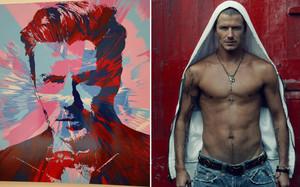 Los retratos de Beckham por Damien Hirst y Annie Leibovitz respectivamente