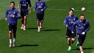 Cristiano Ronaldo, en el entrenamiento