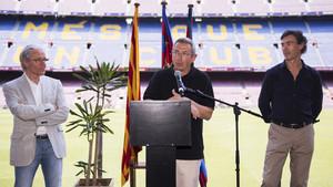 Alfonseda, Vilanova y Moratalla, en el acto de este viernes en el Camp Nou