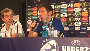 Albert Celades, durante la comparecencia de prensa en el Krakow Stadium