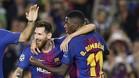 Dembélé, abrazado a Messi