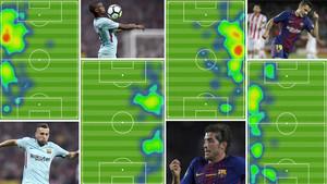 Los mapas de calor ilustran a la perfección lo que pide Valverde a sus laterales