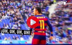 Una imagen del vídeo de Deportes Cuatro que aborda lo sucedido con Neymar en Cornellà-El Prat