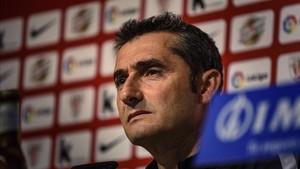 Ernesto Valverde durante la rueda de prensa pevia al partido de este lunes entre el Athñetic