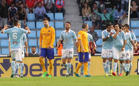 El Bar�a cay� por 4-1 ante el Celta en el partido de la primera vuelta de la Liga 2015/16