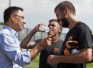 Neymar, Bartomeu y Piqué, en la CIutat Esportiva