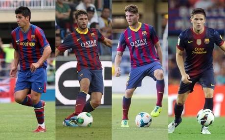 Nolito, Sergi G�mez, Planas y Font�s en acci�n con la camiseta del FC Barcelona