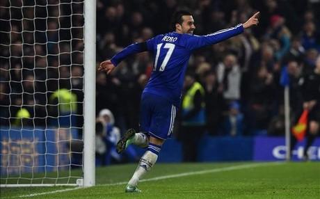 Pedro celebrando uno de sus goles ante el Newcastle.