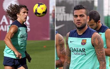Puyol y Alves, son duda para el partido ante el Athletic.