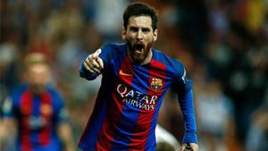 Messi, celebrando en el Bernabéu