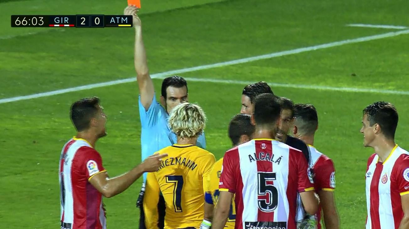 Vídeo resumen: La expulsión de Griezmann en el Girona - Atlético (2-2)