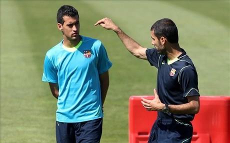 Guardiola y Busquets se conocieron en el Bar�a B