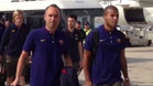 Players arrive in England