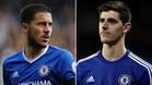 Eden Hazard y Thibaud Courtois, mediapunta y portero belgas del Chelsea