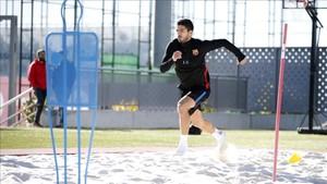 Luis Suárez, durante un entrenamiento en la Ciutat Esportiva