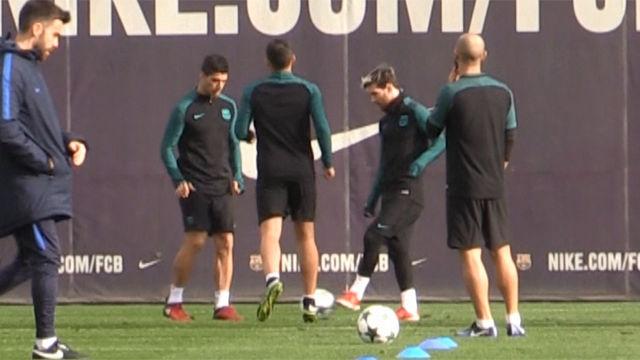 El vacile de Messi y Suárez a Alcácer