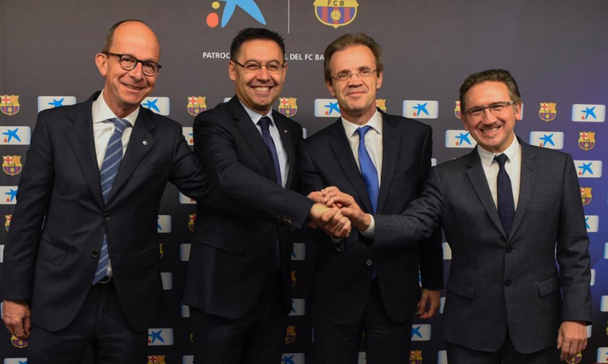 El fc barcelona y la fundaci renuevan el acuerdo con la for Oficinas la caixa santander
