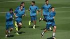 Cristiano Ronaldo junto a otros integrantes de la plantilla del Real Madrid en la previa del partido de la Champions 2017/18 contra el APOEL