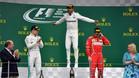 Hamilton, eufórico en el podio