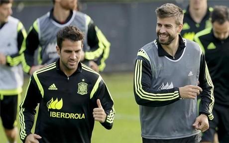 Piqu� y Cesc, en un entrenamiento de Espa�a durante el Mundial de Brasil