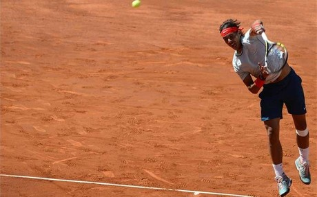 Nadal en el partido contra Wawrinka en el Master de Madrid que se jug en la Caja Mgica