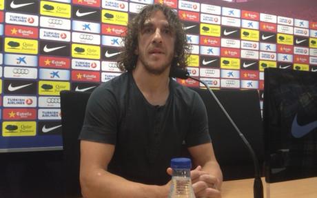Puyol, durante la conferencia de prensa