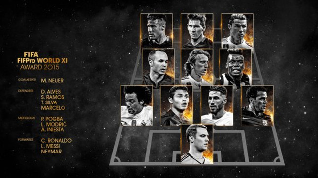 Alves, Iniesta, Neymar y Messi, en el once ideal de la FIFA