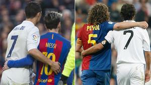 Cristiano Ronaldo y Leo Messi en el Barça - Madrid 2016/17 y Raúl González y Carles Puyol en el Madrid - Barça 2008-09