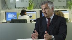 Juan Antonio Samaranch durante la entrevista con Efe