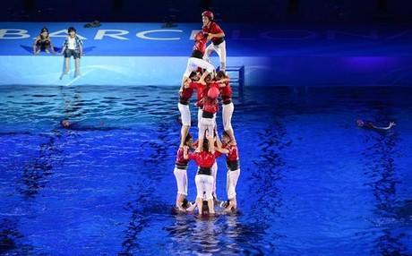 Un 'castell' subacuático fue uno de los momentos más espectaculares del acto