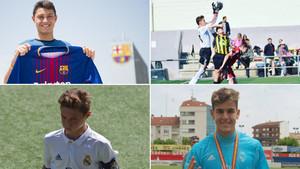 Arriba, Jorge Cuenca (Barça B) y Alejandro Ramos (Infantil A), abajo; David Cuenca (Cadete A) y Darío Ramos (Juvenil A)
