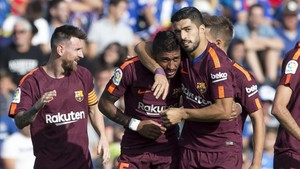 Messi, Suárez y Paulinho ya celebran los goles del Barça