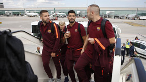 La plantilla del FC Barcelona ya está en Lisboa