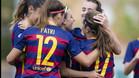 El femenino del FC Barcelona celebrando un gol esta temporada.