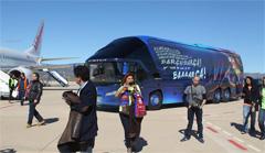 Gran expetaci�n en el aeropuerto de Castell�n para ver al Bar�a