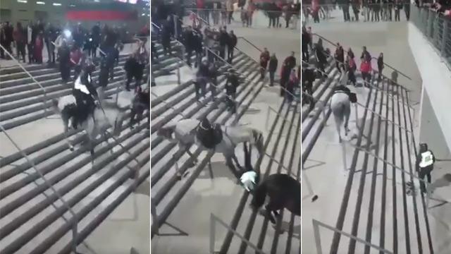 La increíble caída de un policia a caballo en el Wanda Metropolitano (ES)