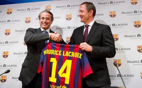 Javier Faus durant l'acte officiel de présentation de l'accord avec Maurice Lacroix