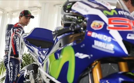 Jorge Lorenzo, en la presentaci�n de la nueva Yamaha en Barcelona