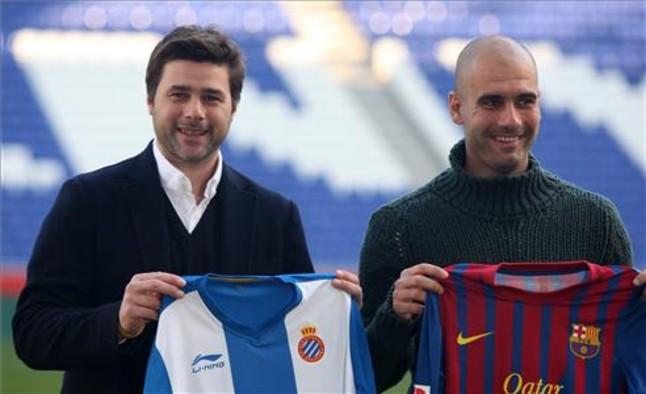 Pochettino e Guardiola promovendo um dos muitos clássicos em que se enfrentaram na Catalunha. (Foto: Sport.es)