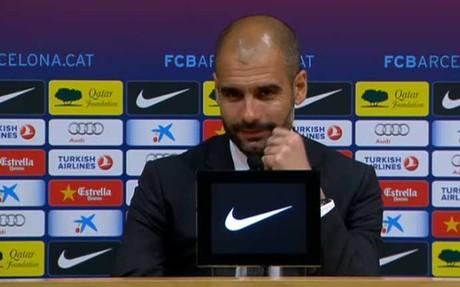 Guardiola al inicio de la rueda de prensa posterior al partido contra el Madrid