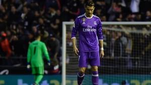 Cristiano, cabizbajo y enfadado cuando terminó el partido