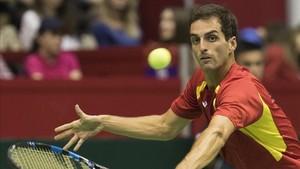 Albert Ramos ganó el único punto español ante Serbia