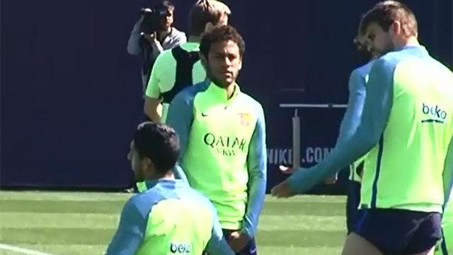 Neymar en el último entrenamiento