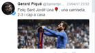 El tuit de Piqué celebrando la victoria en el Bernabéu