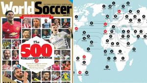 La portada de World Soccer del especial sobre los 500 mejores futbolistas y la distribución por países