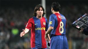 Leo Messi y Ludovic Giuly, en una imagen de archivo