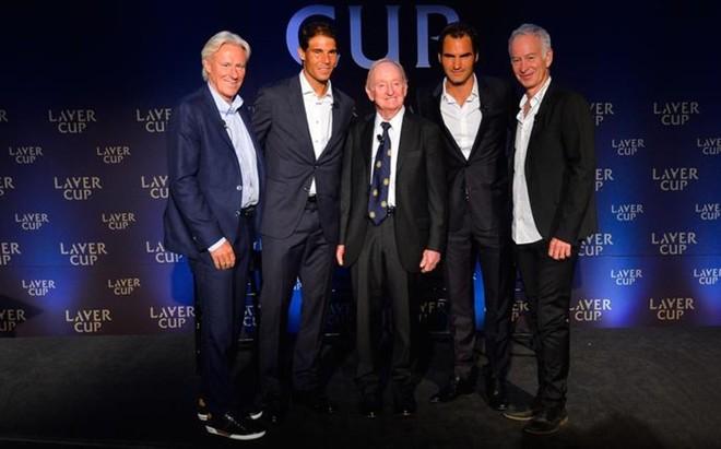 Bjorn Borg, Rafa Nadal, Rod Laver, Roger Federer y John McEnroe durante la presentaci�n