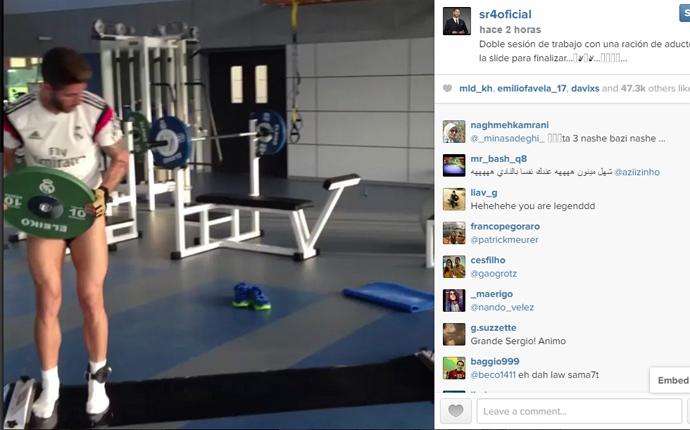 Extra�o entrenamiento de Sergio Ramos para llegar al Cl�sico